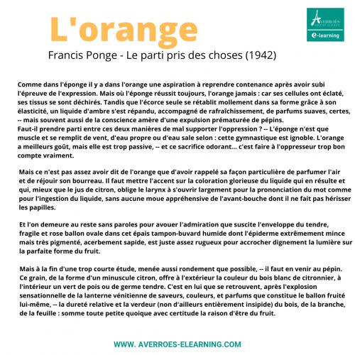 Poésie de Francis Ponge, sujet de commentaire composé